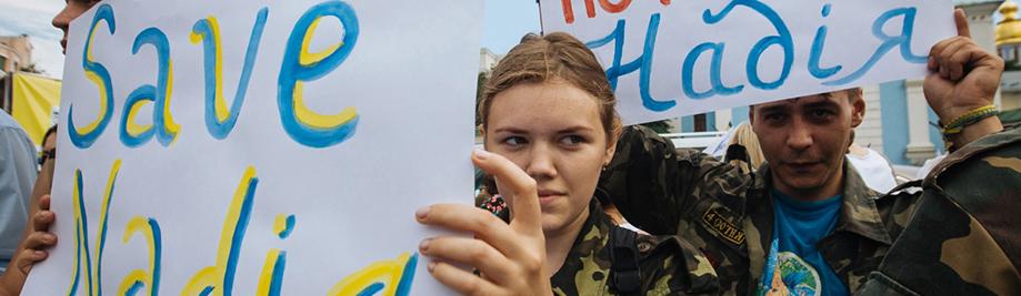 Rally გათავისუფლების უკრაინული ოფიცერი Nadiya სავჩენკო საწყისი რუსეთის ციხეში