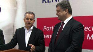 Vlad Plahotniuc (left) and Petro Poroshenko, the President of Ukraine (right)