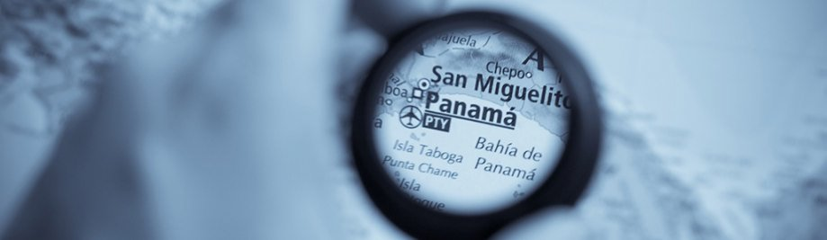 Selective focus on antique map of Panama