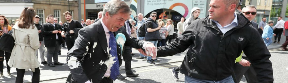 All shook up: #Brexit Party's Nigel Farage doused with milkshake on campaign