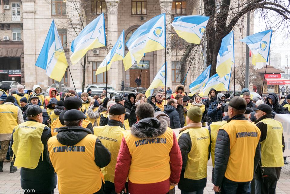 Os manifestantes rexeitan as acusacións do Ministerio contra Energoatom