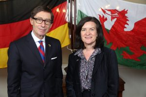 Dr Peter Wittig, Germany's Ambassador to the UK, with Eluned Morgan, the Minister for International Relations and Welsh Language