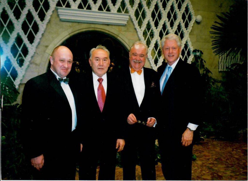 "The alleged ""election meddler"" Evgeny Prigozhin pictured with former US President Bill Clinton and the former President of Kazakhstan Nursultan Nazarbayev-"